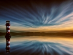 Striped Lighthouse Reflection