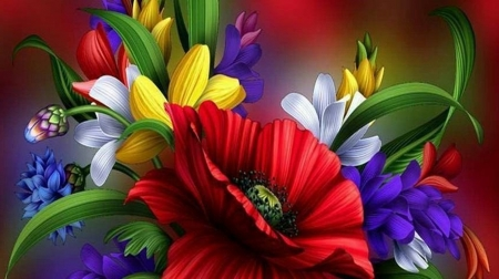 flowers - beauty, art, paintings, colourful