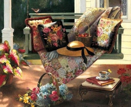 retro home - flowers, art, paintings, houses, cool
