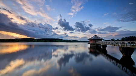 Cabin at the End of the Pier - clouds, piar, nature, cabin, reflection, sky, sea