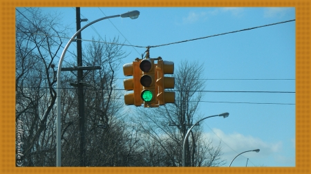 Snow Covered Stop Light - green light, traffic signals nSigns, street lights, blue sky, stop 1ight, traffic light, wires