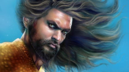 Aquaman - Jason Momoa, art, fantasy, luminos, man, aquaman, portrait