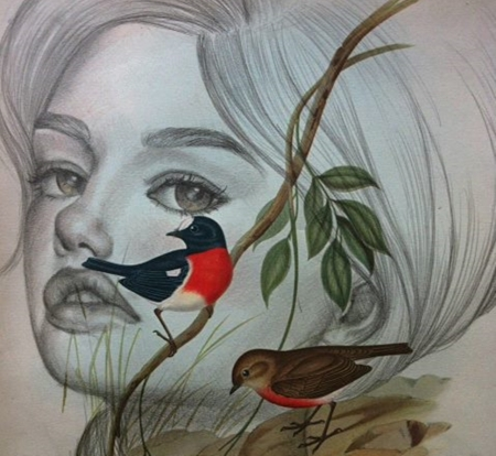 miss spring - paintings, drawind, art, fantasy, cool, birds