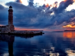 Classic Charlevoix Lighthouse at Sunset