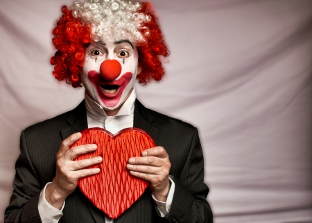 Happy Valentine's Day! - heart, clown, red, black, hand, valentine, man