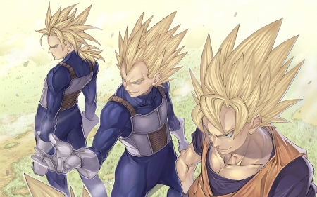 triple saiyans - goku, Saiyans, trunks, vegeta, super saiya-jin