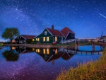 Milky Way over Zaanse Schans (Netherlands)