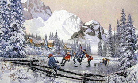 The Joy of Hockey - snow, houses, mountains, people, painting, ice, trees, winter, skating