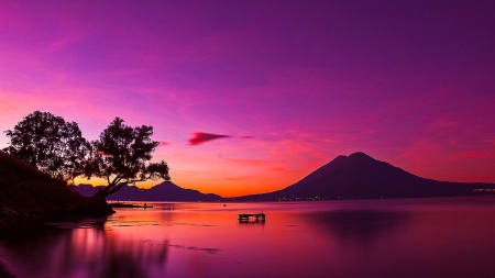 Lake Atitl�n, Guatemala - afterglow, lake, purple sky, dusk, nature, trees
