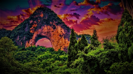 Moon Hill (China) - arch, moon hill, rocks, china, nature, trees, landscape