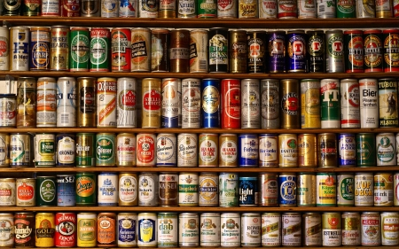 beer cans - alcohol, shelf, cans, beer