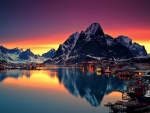 Midnight sun Reflection in Lofoten, Norway