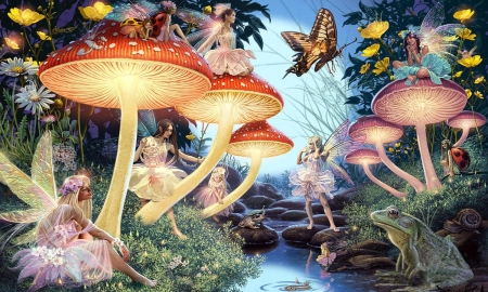 Toadstool Brook - brook, digital, magical, fairies, Toadstools, butterflies, Enchanting