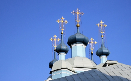 Church Crosses - crosses, sky, church, domes, gold