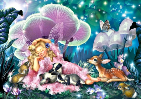 Fairy Nap - Fairy, Art, Painting, Fantasy