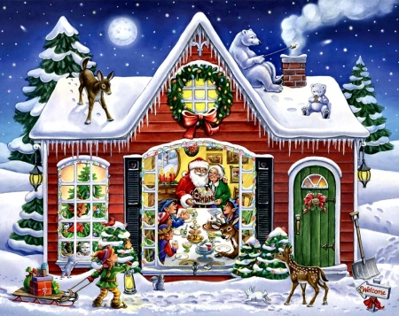 Christmas Feast - Christmas, Elves, Santa Claus, Painting, Animals