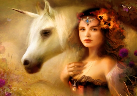 Magical Unicorn - art, pearl, girl, horse