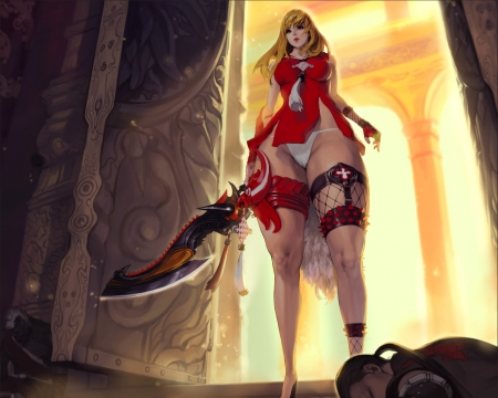 crimson blade - hot, blade, anime, ecchi, red