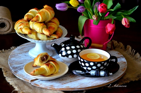 Good Morning! - black, flower, cup, morning, tea, croissant, pink, tulip, dot