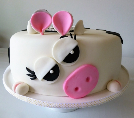 Cake - cake, cow, food, black, vaca, pink, white, dessert, sweet