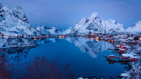 Water Reflections - reine, water, boats, nature, reflection, lake, norway, sky, mountain, snow