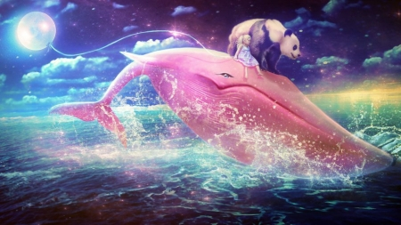Pink Whale - Whale, Animals, Panda, Water, Pink, Clouds, Sky