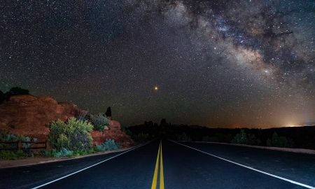 Galactic Highway - Highway, stars, dark, awesome, evening, sky, road, Galactic
