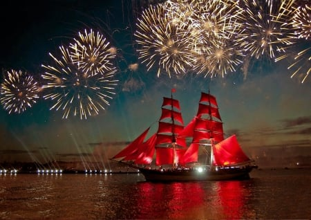 Sailing under Fireworks - sails, water, ship, reflections, evening