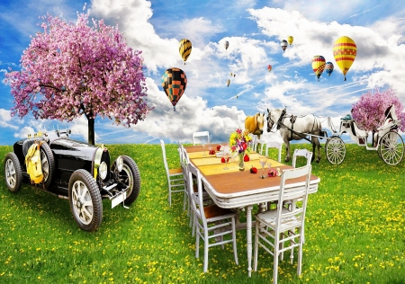 Romantic Picnic - table, tree, car, balloons, chairs, horse, coach, sky, blossoms