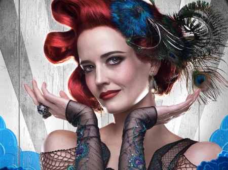 Dumbo (2019) - blue, poster, redhead, movie, dumbo, colette, woman, fantasy, girl, actress, feather, hand, Eva Green, face, disney