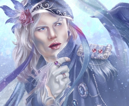 January - man, victoria ruavell, pink, blue, luminos, january, rose, hat, fantasy, hand, flower, jewel