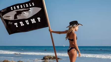 Wave Your Flag. . - hats, cowgirl, ocean, Trump, flag, outdoors, beach, political, western, blondes
