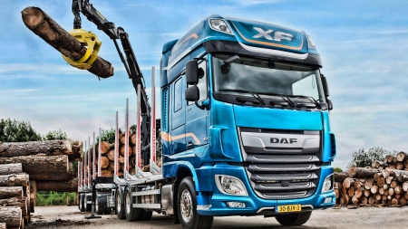2019 daf xf 530 timber carrier - carrier, timber, truck, daf