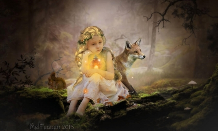 The Secret Forest - magical, browns, sweetness, Fantasy, Lantern, Child, forest, Little girl, enchanting, fox, Sweetness