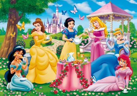 Disney princesses - aurora, snow white, belle, umbrella, yellow, jasmine, fantasy, vara, girl, summer, garden, princess, pink, blue, disney, dress, cinderella, ariel