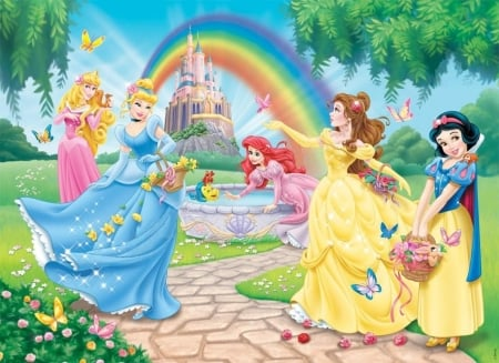 Disney princesses - dress, snow white, aurora, belle, yellow, rainbow, cinderella, pionk, fantasy, ariel, girl, summer, princess, disney, blue