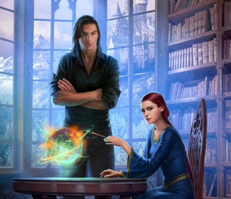 :) - stepan gilev, fantasy, girl, hand, magical, man, couple, blue, library