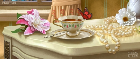 :) - fantasy, luminos, butterfly, cup, tea, stepan gilev, art, red, pearls, white