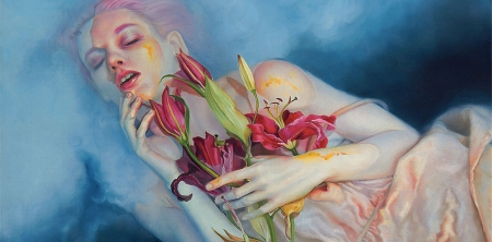 Leda - red, art, luminos, kari lise alexander, vara, fantasy, water, leda, girl, lily, summer, flower, hand, painting, crin, blue