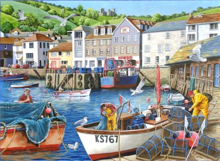 Busy Harbour - fishing, Harbour, nets, boats, maintenance, repairs