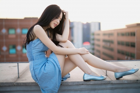 Beautiful girl sitting - legs, girl, charming, asian girl, blue dress, Beautiful, shoes