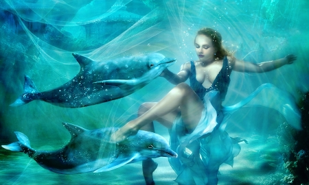 Swimming With the Dolphins - ocean, sea, underwater, lovely, Sirens, dolphins, peaceful