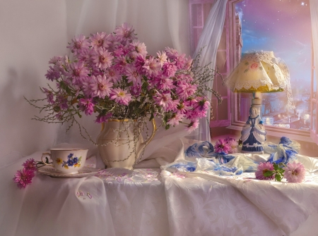 Still life - flowers, vase, delicate, harmony, pretty, view, window, still life, elegance, bouquet, tea time