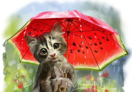 Summer rain - pisici, cat, red, art, lorri kajenna, luminos, umbrella, vara, fantasy, green, watermelon, summer, rain