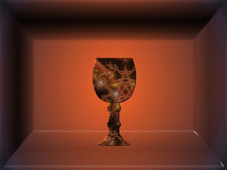Chalice - shadow box, chalice, swirls, rust, design