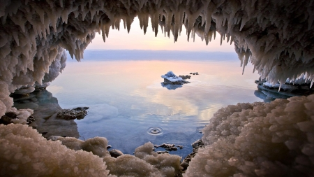 Norway Sea Cave - cave, sea, opening, hole, icicles, cold, norway