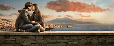 A kiss from Naples - lovers, hugs, Kiss, lover, sitting, wall, Naples, landscape, Napoli