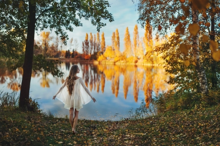 Autumn Reflection - autumn, girl, beauty, clouds, reflection, sky, trees, lake, peaceful