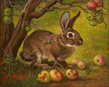 By the apple tree - fruit, apple, art, rabbit, yana movchan, iepure, painting, bunny