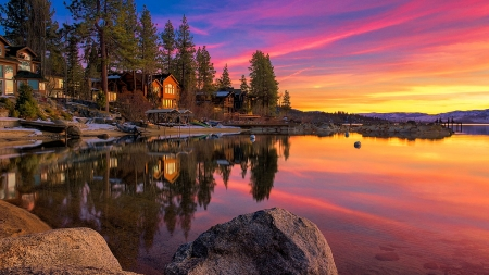 Lake Tahoe Sunset Sunsets Nature Background Wallpapers